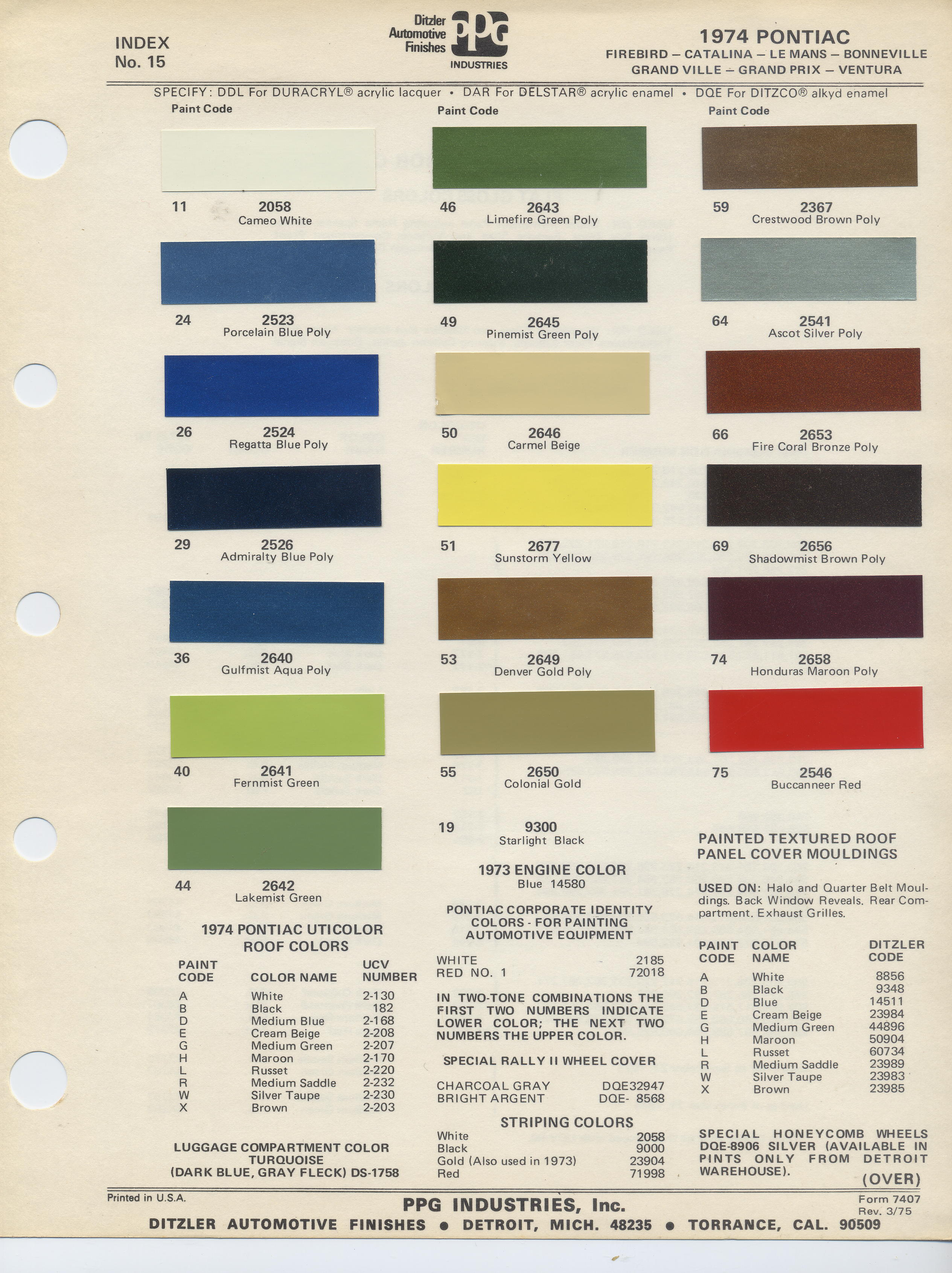 Main Pontiac Wire Harness Color Code Front